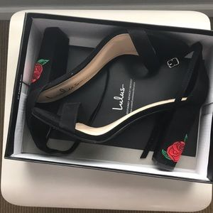 """Rose embroidered suede 4"""" block heels from Lulus"""